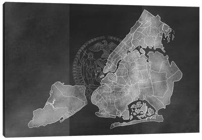 New York City Chalk Map Canvas Art Print