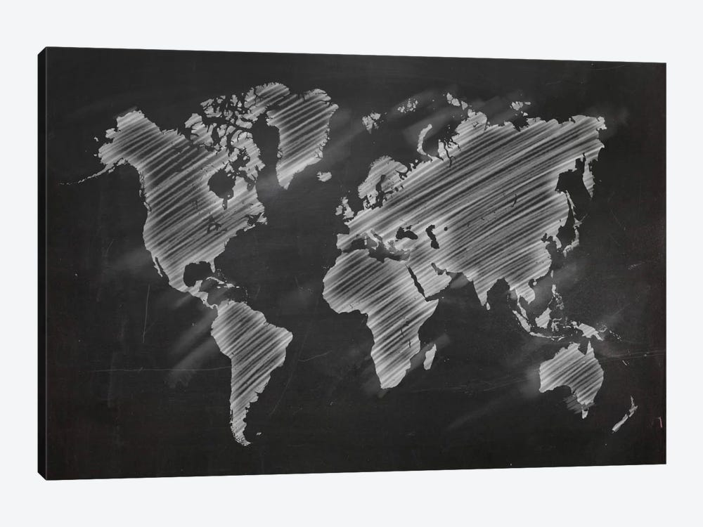 Chalky World Map by 5by5collective 1-piece Canvas Art