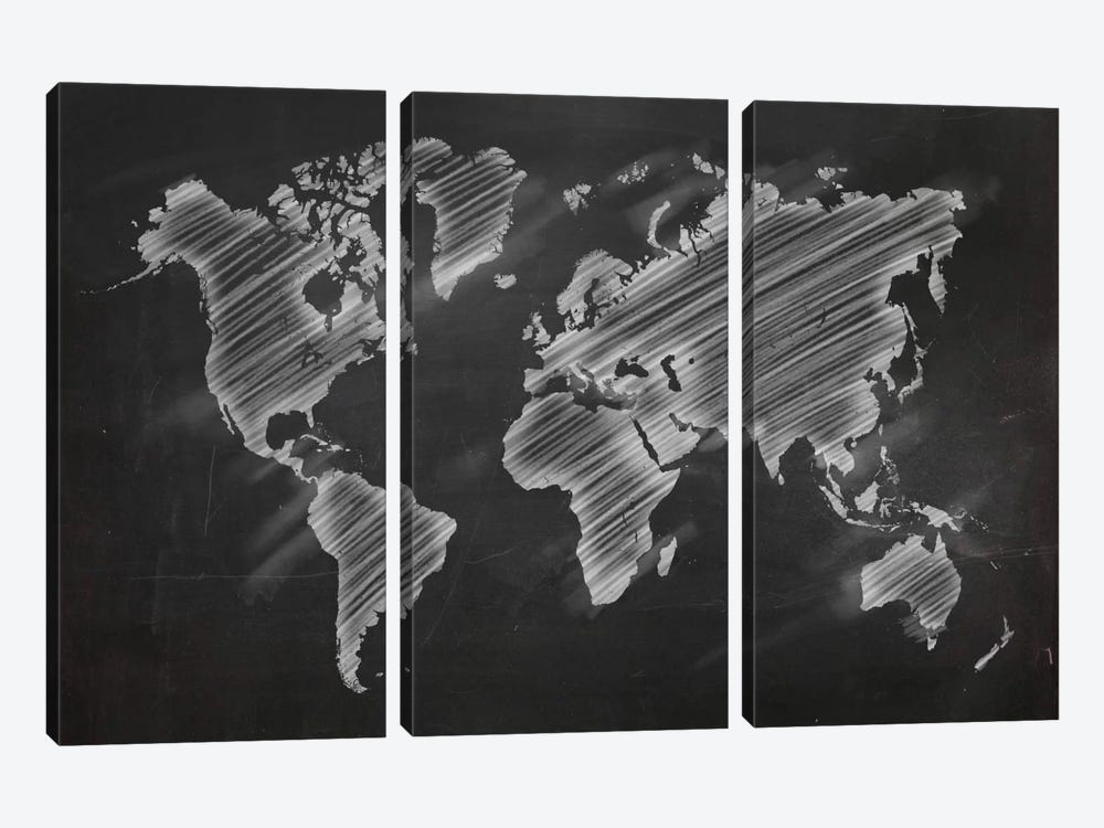 Chalky World Map by 5by5collective 3-piece Canvas Art