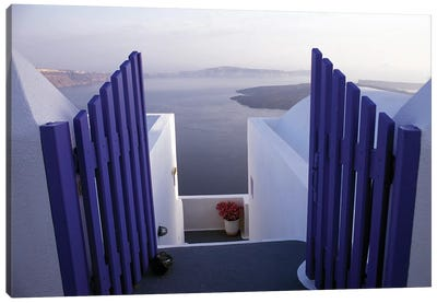 Balcony View, Imerovigli, Santorini, Cyclades, Greece Canvas Art Print