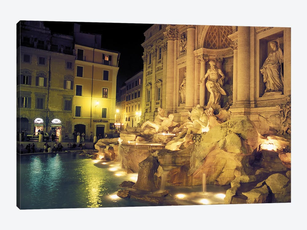 Nighttime Side-Angle View, Trevi Fountain, Rome, Lazio Region, Italy by Connie Ricca 1-piece Canvas Art Print