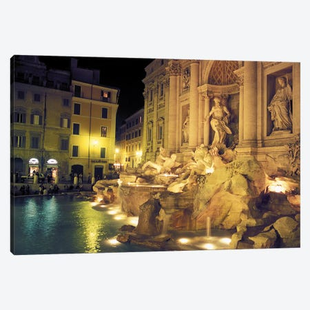 Nighttime Side-Angle View, Trevi Fountain, Rome, Lazio Region, Italy Canvas Print #ICC2} by Connie Ricca Canvas Print