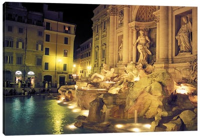Nighttime Side-Angle View, Trevi Fountain, Rome, Lazio Region, Italy Canvas Art Print
