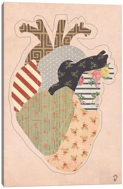 Cœur On Rose Canvas Art Print
