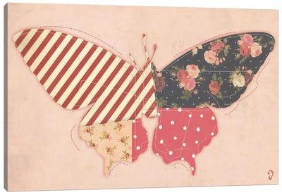 Papillon On Rose Canvas Art Print
