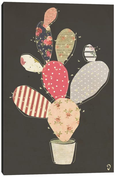 Cactus On Noir Canvas Art Print
