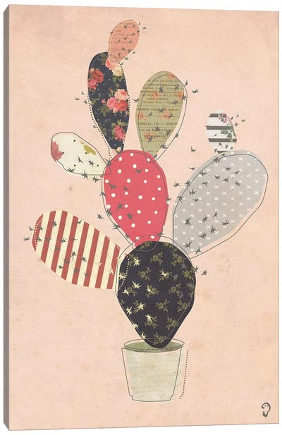 Cactus On Rose Canvas Art Print