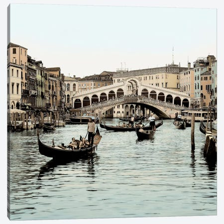 Ponte Rialto con Gondolas Canvas Print #ICS107} by Alan Blaustein Canvas Artwork