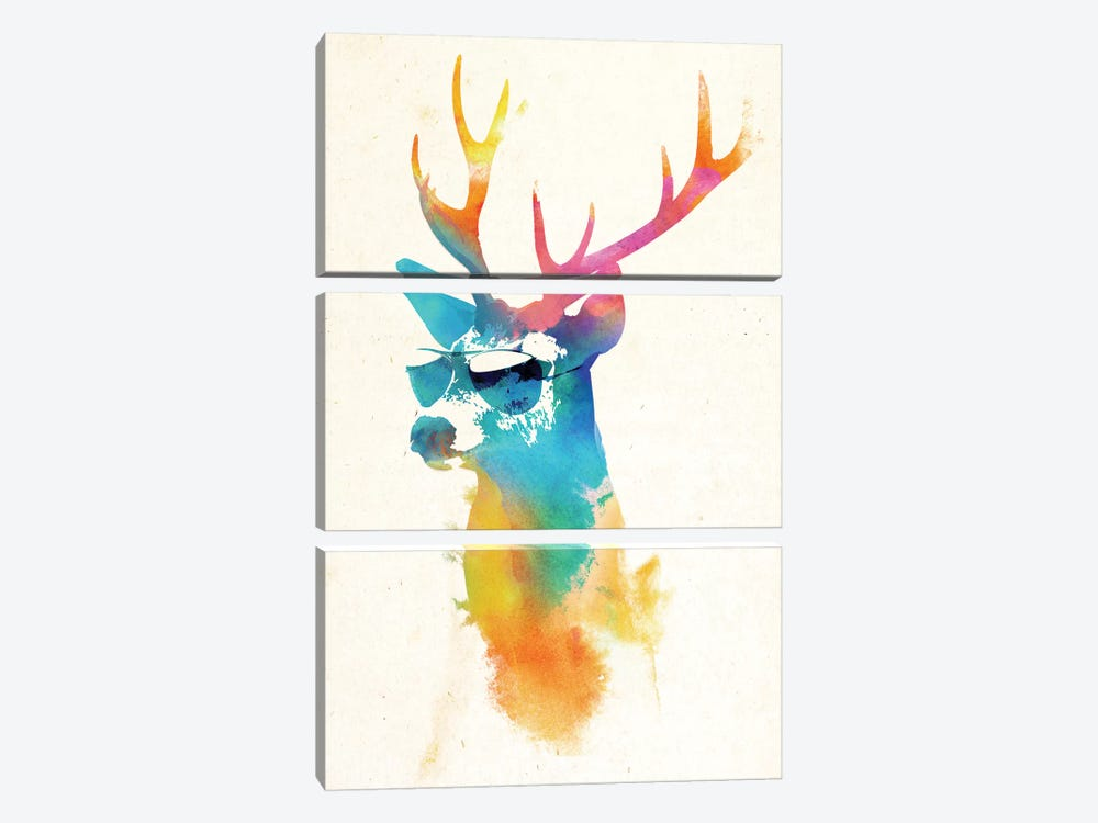 Sunny Stag by Robert Farkas 3-piece Canvas Print