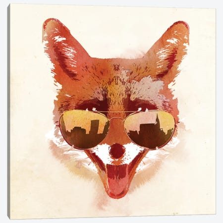Big Town Fox Canvas Print #ICS201} by Robert Farkas Canvas Art
