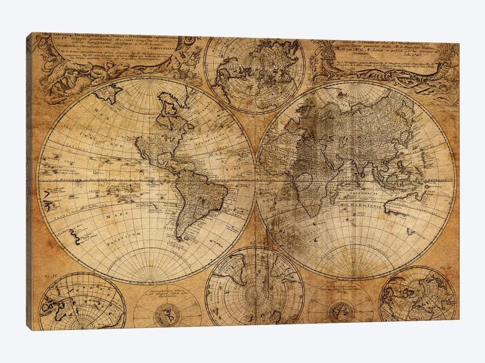 Vintage Map by GraphINC Studio 1-piece Canvas Artwork