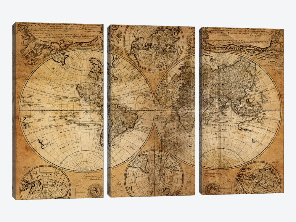 Vintage Map by GraphINC Studio 3-piece Canvas Art