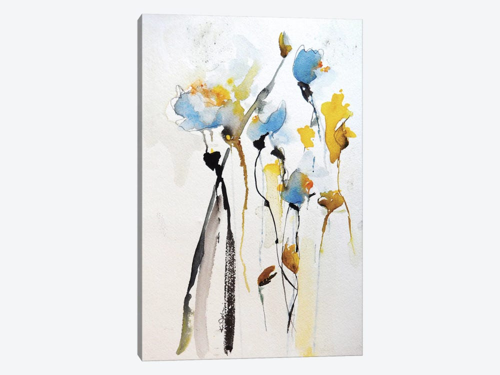 Blue Flowers II by Karin Johannesson 1-piece Canvas Wall Art