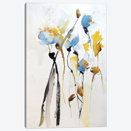Blue Flowers II Canvas Print #ICS276} by Karin Johannesson Canvas Wall Art