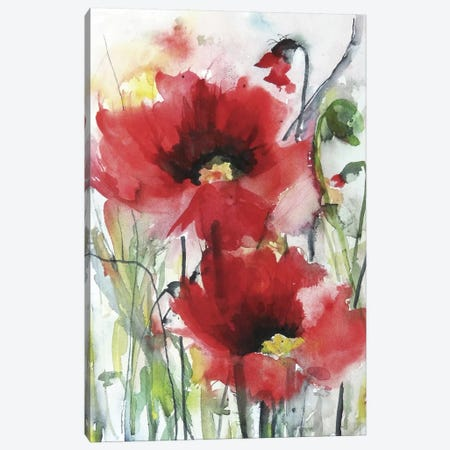 Red Poppies Canvas Print #ICS277} by Karin Johannesson Canvas Wall Art