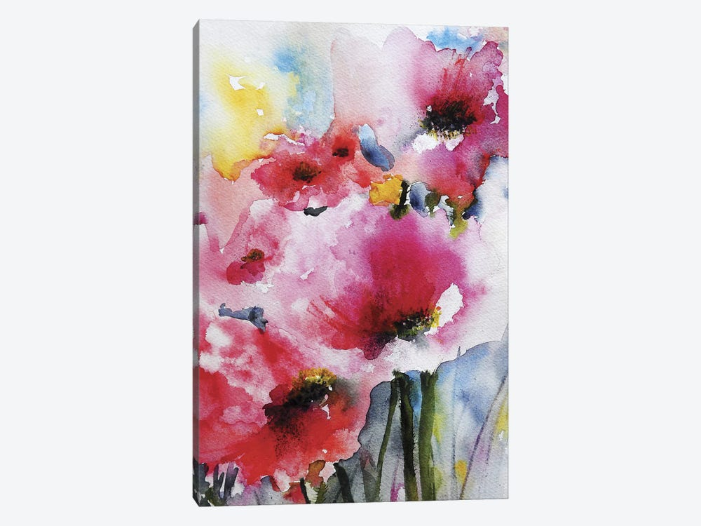 Summer Poppies II by Karin Johannesson 1-piece Canvas Artwork