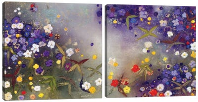 Gardens in the Mist Diptych Canvas Art Print