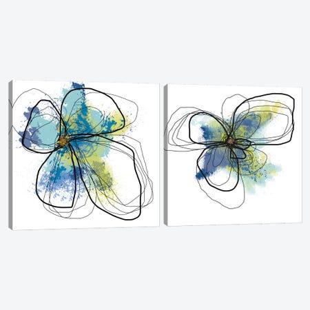Azure Petals Diptych Canvas Print Set #ICS2HSET012} by Jan Weiss Canvas Artwork