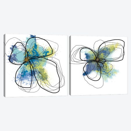 Azure Petals Diptych Canvas Print Set #ICS2HSET012} by Jan Weiss Canvas Artwork