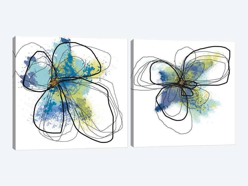 Azure Petals Diptych by Jan Weiss 2-piece Canvas Print