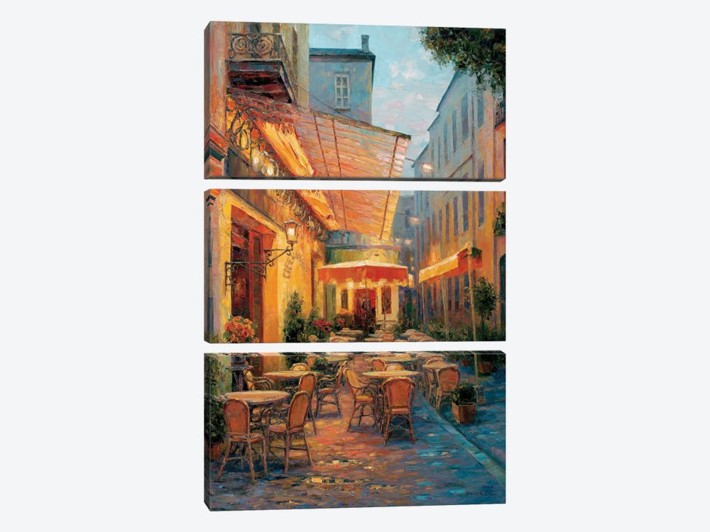 Café Van Gogh 2008, Arles France by Haixia Liu 3-piece Canvas Print
