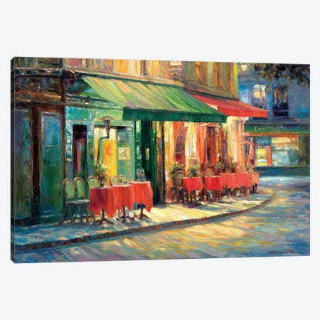 Red & Green Café Canvas Print #ICS346} by Haixia Liu Canvas Artwork