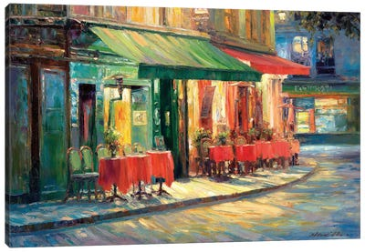Red & Green Café Canvas Art Print