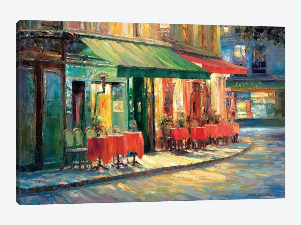 Red & Green Café by Haixia Liu 1-piece Canvas Art