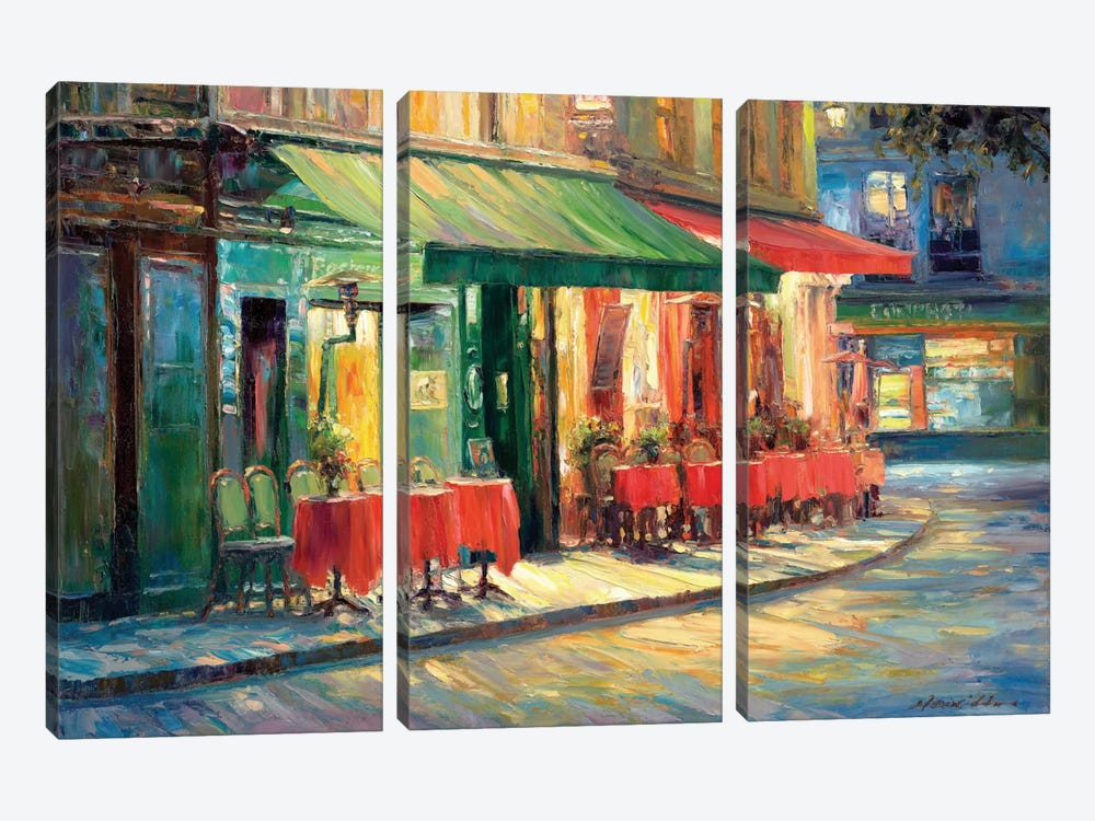 Red & Green Café by Haixia Liu 3-piece Canvas Artwork