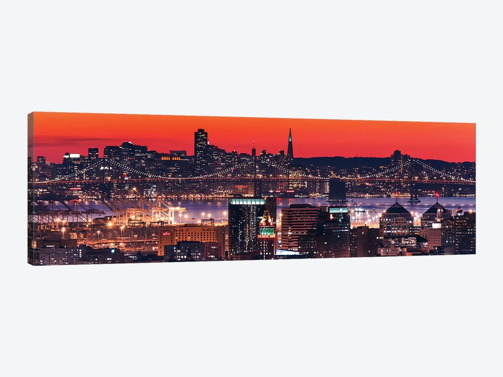 Oakland SF Twilight by Greg Linhares 1-piece Canvas Art Print