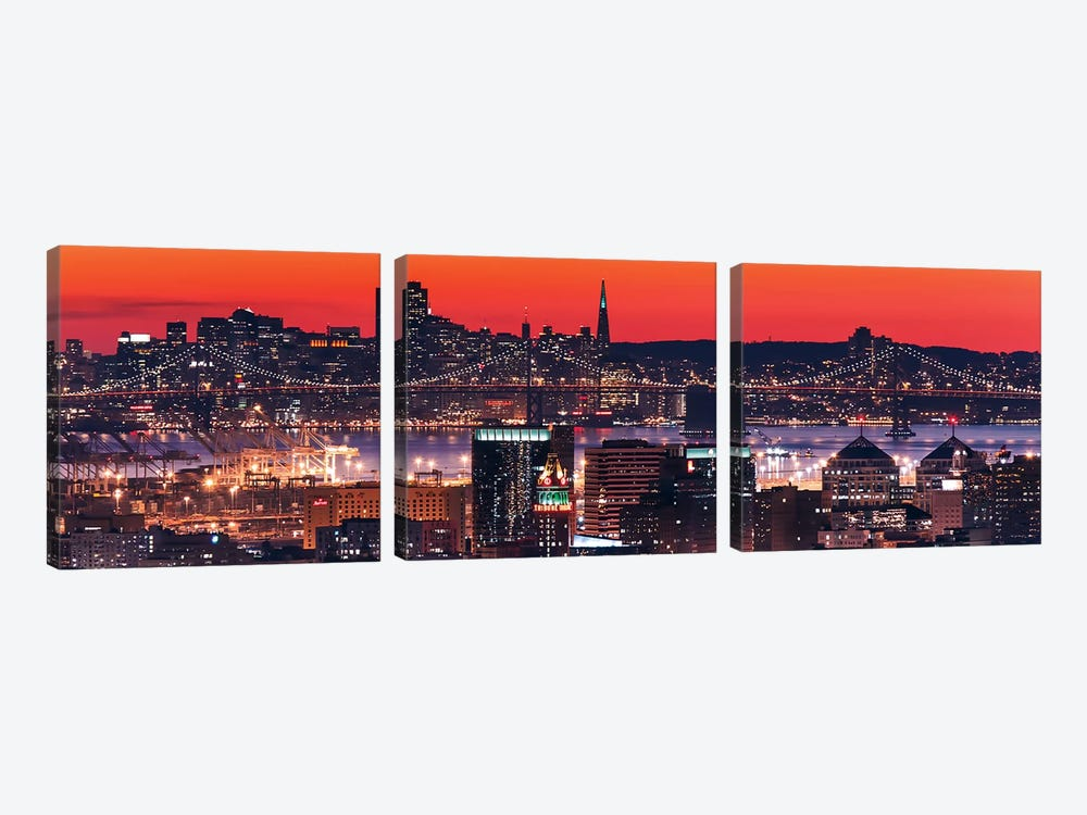 Oakland SF Twilight by Greg Linhares 3-piece Canvas Art Print