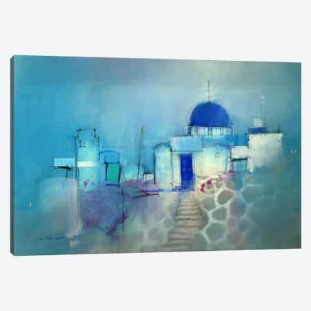 Santorini Blue Canvas Print #ICS358} by John Lovett Canvas Art