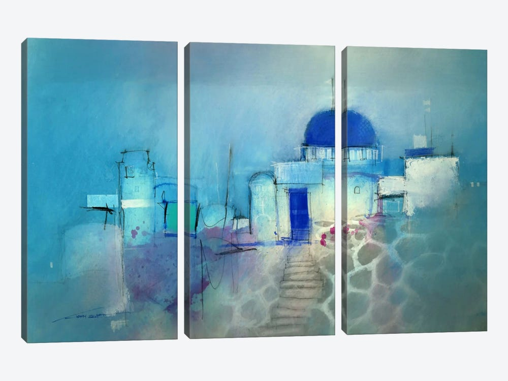 Santorini Blue by John Lovett 3-piece Canvas Art Print