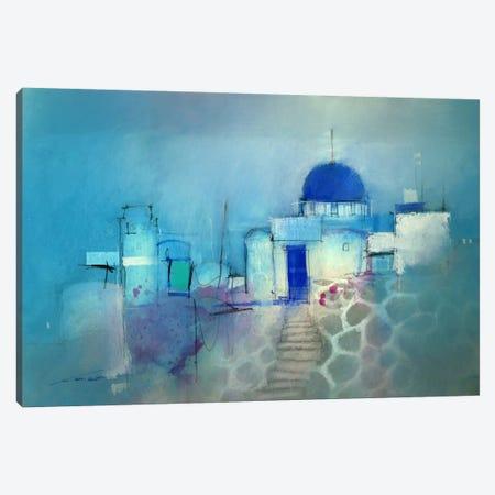 Santorini Blue Canvas Print #ICS358} by John Lovett Canvas Art