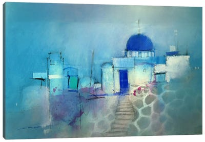 Santorini Blue Canvas Art Print