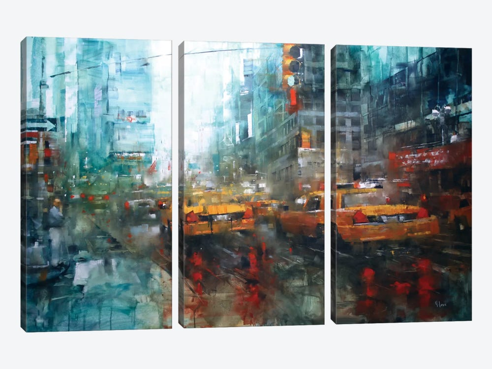 Times Square Reflections by Mark Lague 3-piece Canvas Wall Art