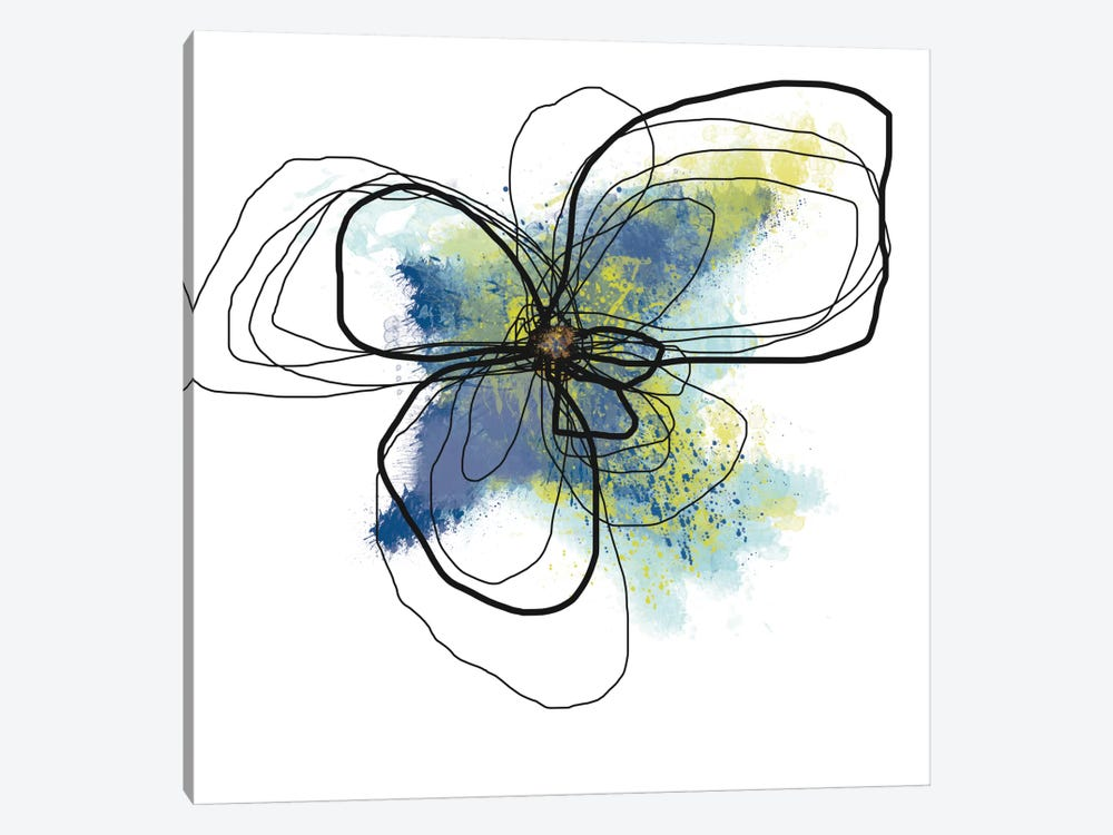 Azure Petals II by Jan Weiss 1-piece Canvas Art