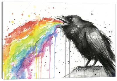 Raven Tastes The Rainbow Canvas Art Print