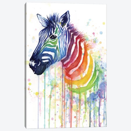 Rainbow Zebra Canvas Print #ICS555} by Olga Shvartsur Canvas Print