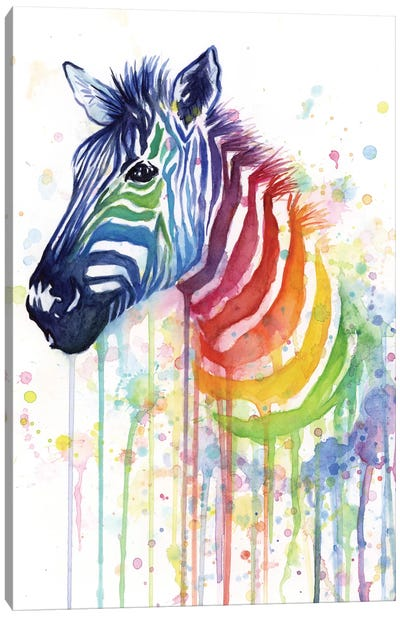 Rainbow Zebra Canvas Art Print