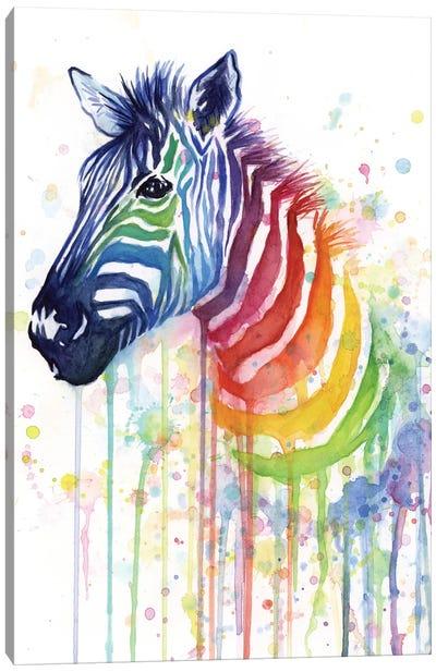 Rainbow Zebra Canvas Art Print