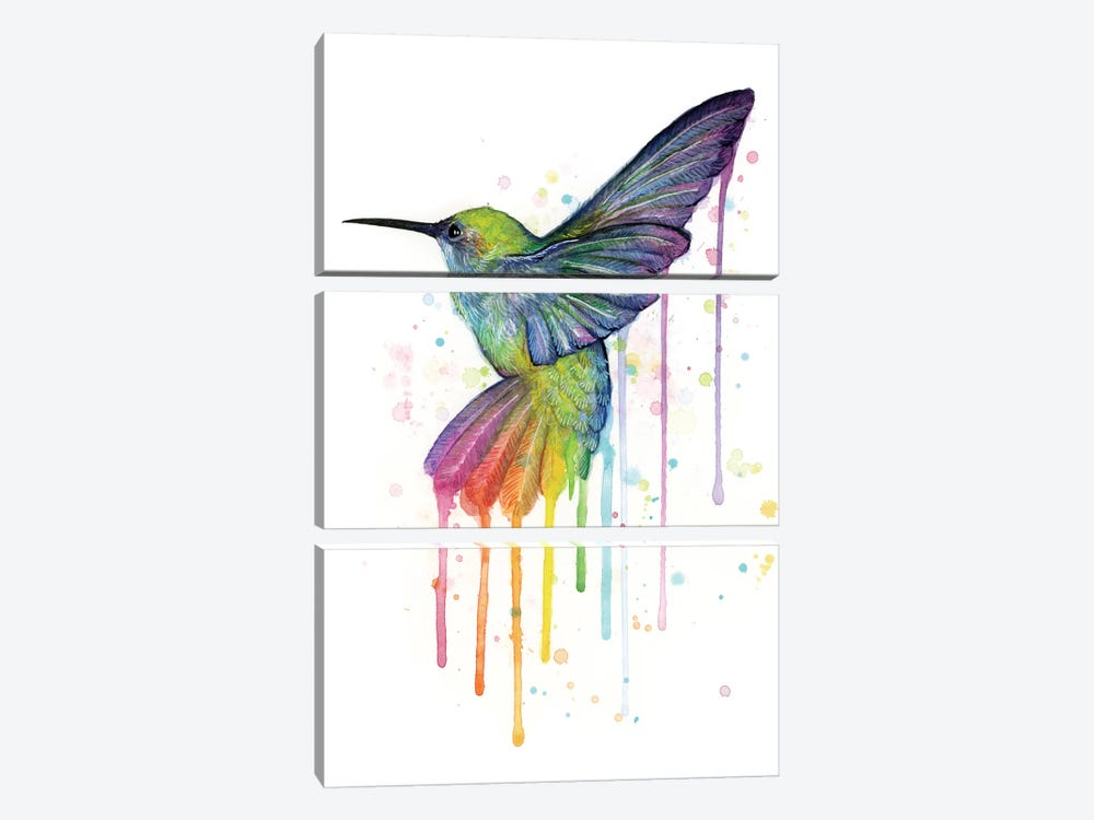 Rainbow Hummingbird by Olga Shvartsur 3-piece Art Print