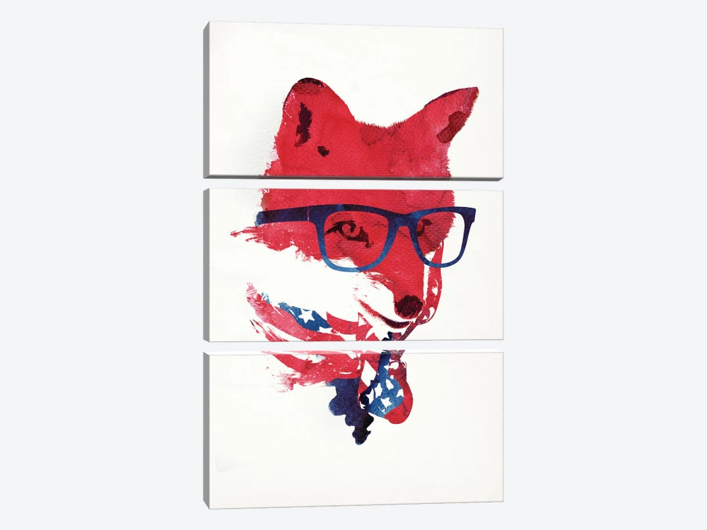 American Fox 3-piece Canvas Print