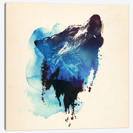 Alone As A Wolf Canvas Print #ICS646} by Robert Farkas Canvas Print