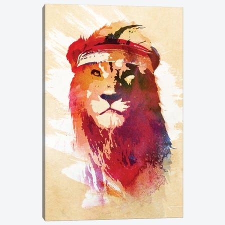 Gym Lion Canvas Print #ICS648} by Robert Farkas Canvas Wall Art