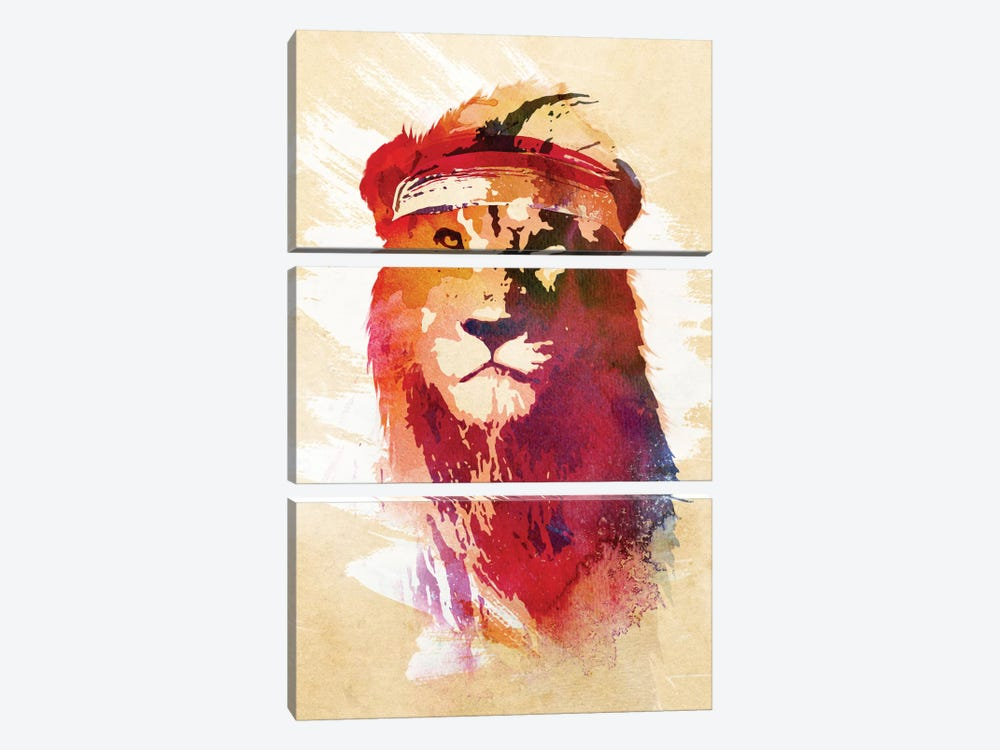 Gym Lion by Robert Farkas 3-piece Canvas Art