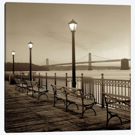 San Francisco Bay Bridge at Dusk Canvas Print #ICS64} by Alan Blaustein Canvas Artwork