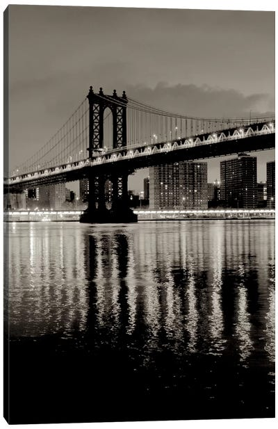 Manhattan Bridge At Night Canvas Art Print