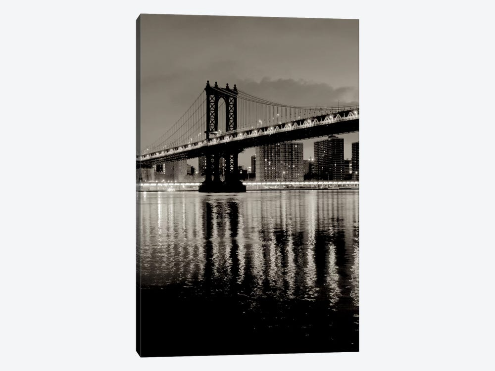 Manhattan Bridge At Night by Alan Blaustein 1-piece Canvas Print