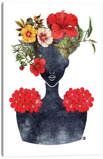 Flower Crown Silhouette I Canvas Art Print